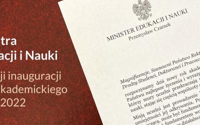 List Ministra Edukacji i Nauki z okazji inauguracji roku akademickiego 2021/2022